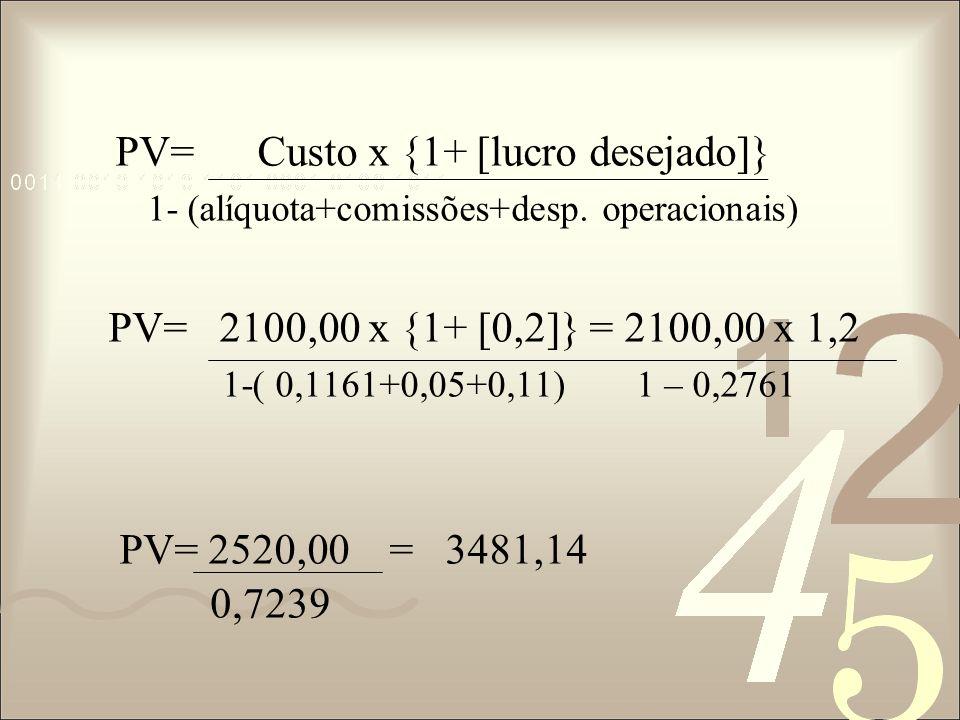 PV= Custo x {1+ [lucro desejado]}